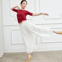 Winkplay - Long-Sleeve / Short-Sleeve Dance T-Shirt / Wide-Leg Pants
