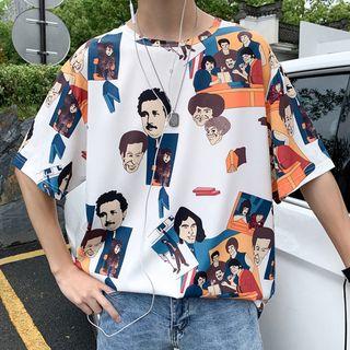 Tonni's - Elbow-Sleeve Cartoon Print T-Shirt
