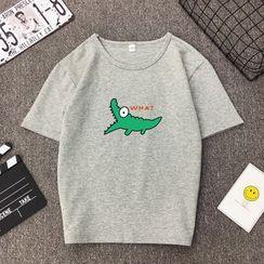 santrani - Short-Sleeve Crocodile Print T-Shirt