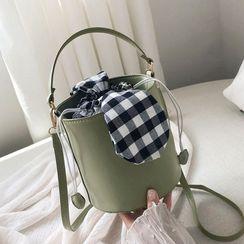 Rosevamp - Top Handle Drawstring Bucket Bag