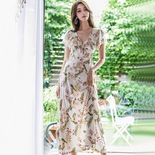Butterzone - Short-Sleeve Floral Maxi Sundress