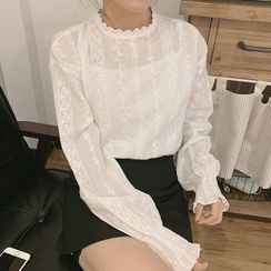 Thinmia - Stand Collar Lace Top
