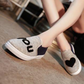 Weiya - 拼色字母贴饰轻便鞋