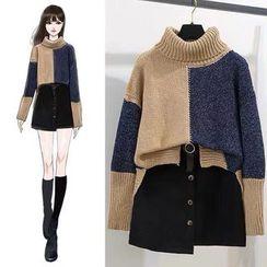Gray House - Color Block Mock Neck Sweater / Asymmetric Buttoned A-Line Mini Skirt / Set