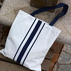 Basaran - Striped Panel Canvas Tote Bag