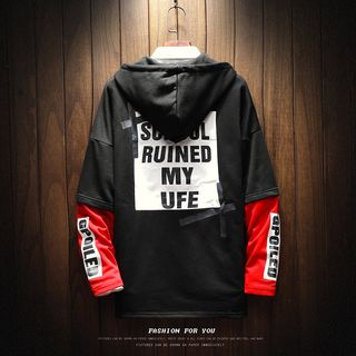 Andrei - Lettering Mock Two-Piece Hoodie