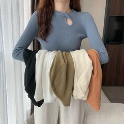 Bybee - 纯色镂空针织上衣