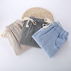 Mushijan - 條紋九分直身褲