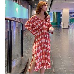 Dowisi - Plaid Elbow-Sleeve Midi A-line Dress