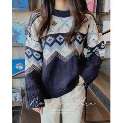 SIMPLY MOOD - Crewneck Nordic-Pattern Sweater