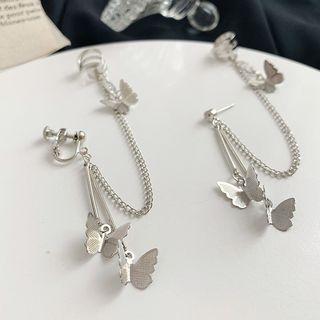 Admae - Schmetterling-Ohrrhänger / Einzelner Schmetterling-Ohrklips mit Ohrmuschel-Ring