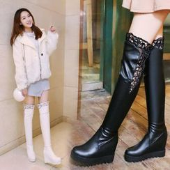 Freesia - Faux Leather Lace Trim Hidden Wedge Over-the-knee Boots