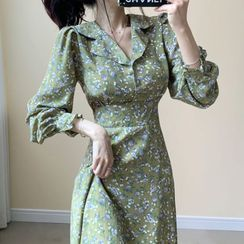 Muzly - Floral Print A-Line Midi Chiffon Dress
