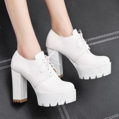 Megan - Platform Chunky Heel Oxfords