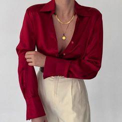 Eunostos - Long Sleeve V-Neck Satin Shirt