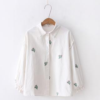 Aigan - 泡泡袖仙人掌刺繡襯衫