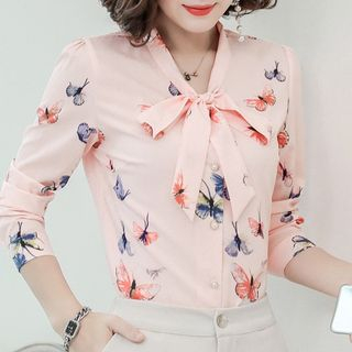 In the Mood - Butterfly Print Tie-Neck Chiffon Blouse