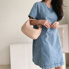 NANING9 - Short-Sleeve Denim Shift Dress