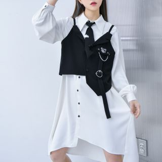 Moriville - Irregular Hem Midi Shirtdress / Bear Embroidered Asymmetrical Vest