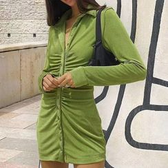 FYDO - Long-Sleeve Ruched Mini Sheath Shirtdress