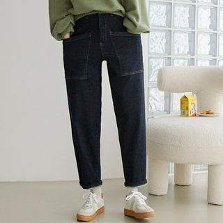 JUSTONE - Stitched Patch-Pocket Baggy Jeans