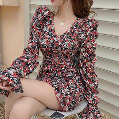 Windflower - 长袖花朵印花迷你塑身连衣裙