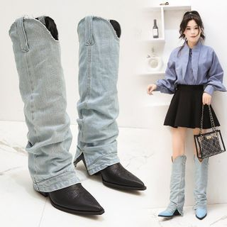 Avanti - Block-Heel Denim Panel Tall Boots
