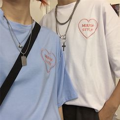 LASIBEI - Couple Matching Elbow-Sleeve Embroidered T-Shirt