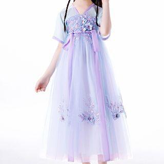 HELLO BABY - Kids Flower Applique Short-Sleeve Midi A-Line Mesh Dress