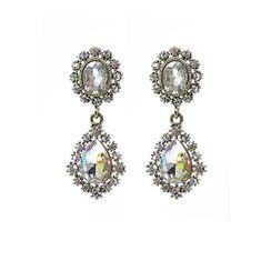 KATENKELLY - Rhinestone Teardrop Earrings (White)
