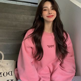 IndiGirl - Fleece-Lined Letter Print Sweatshirt