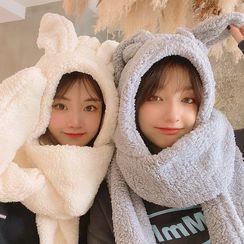 Yunikon - Chenille Rabbit Ear Hooded Scarf