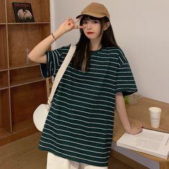 Iduna - Elbow-Sleeve Striped T-Shirt