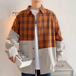 VERSIBO - Plaid Panel Shirt