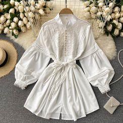 Lucuna - 小立領蕾絲燈籠袖連衣裙