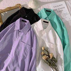 Soulcity - 純色寬鬆長袖襯衫