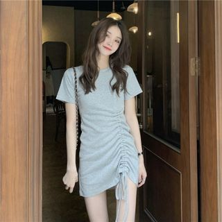 Soswift - Short-Sleeve Drawstring Mini A-Line T-Shirt Dress