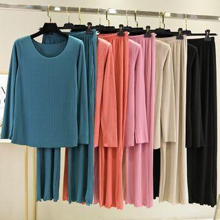 Lacyland - 家居服套装: 罗纹长袖上衣 + 家居裤