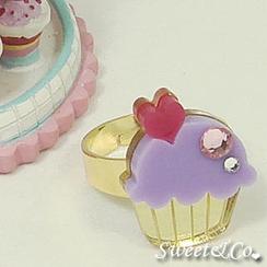 Sweet & Co. - Mini Purple Cupcake Crystal Gold Ring