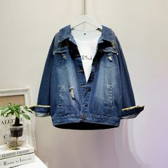 Sugar Town - Embroidered Button Denim Jacket