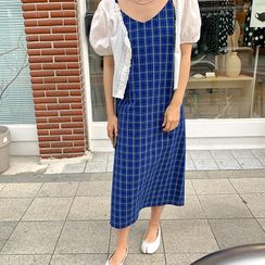 FROMBEGINNING - Spaghetti-Strap Long Plaid Dress