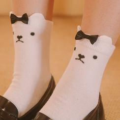 Himiko Makoto - Cat Print Bow Detail Crew Socks