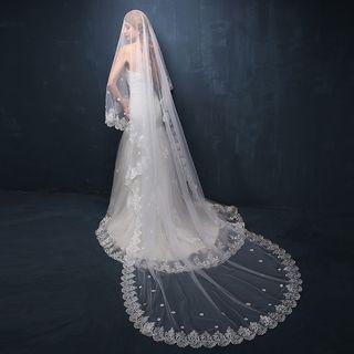 Nymphie - Flower Applique Wedding Veil