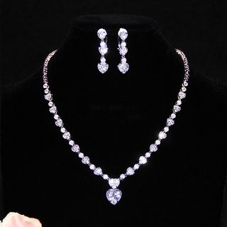 Neostar - Wedding Rhinestone Necklace / Rhinestone Drop Earring / Rhinestone Clip-On Earring / Set