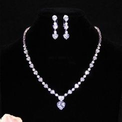 Neostar - Wedding Rhinestone Necklace / Rhinestone Drop Earring / Rhinestone Clip-On Earring / Set