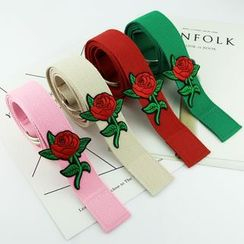 Follow Me - Embroidered Floral Canvas Belt