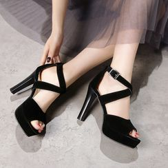 Cinnabelle - Platform Block Heel Cross Strap Sandals
