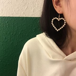 Ignar - Faux Pearl Heart Drop Earrings