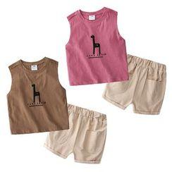 Seashells Kids - Kids Set: Printed Tank Top + Elastic-Waist Shorts