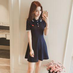 Carmenta - Short-Sleeve Mini A-Line Polo Dress